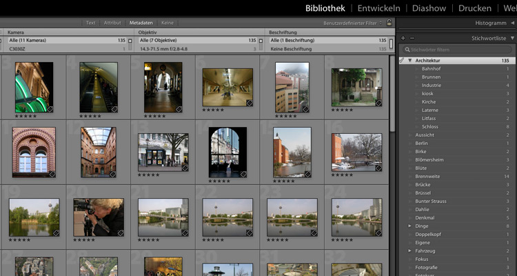 Lightroom Stichwortliste